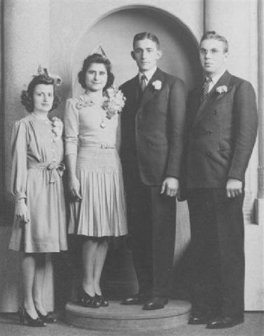 Lester and Jeanne Rentmeester's wedding day on November 20, 1941. Also included are their attendants who were Peter and June Schumacher.