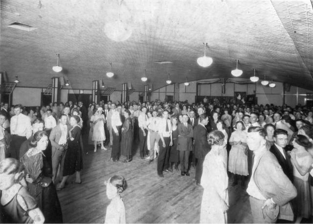Kutska's Hall on a busy night. This was a favorite place for people to go to dance. It was located on the NE corner of Cardinal Lane and Glendale Avenue.